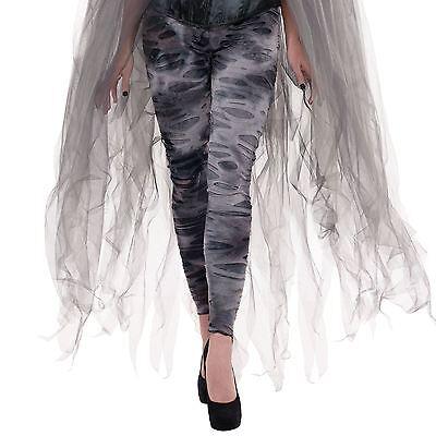Ladies Gothic Zombie Ghost Halloween Fancy Dress Tights Womens Grey Costume UK