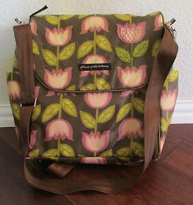 petunia pickle bottom glazed boxy diaper bag backpack brown pink tulips ebay. Black Bedroom Furniture Sets. Home Design Ideas