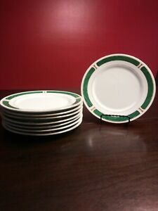 Set-Of-8-Majesty-Malachite-8420-7-1-2-034-Salad-Plates-Green-Gold-Trim