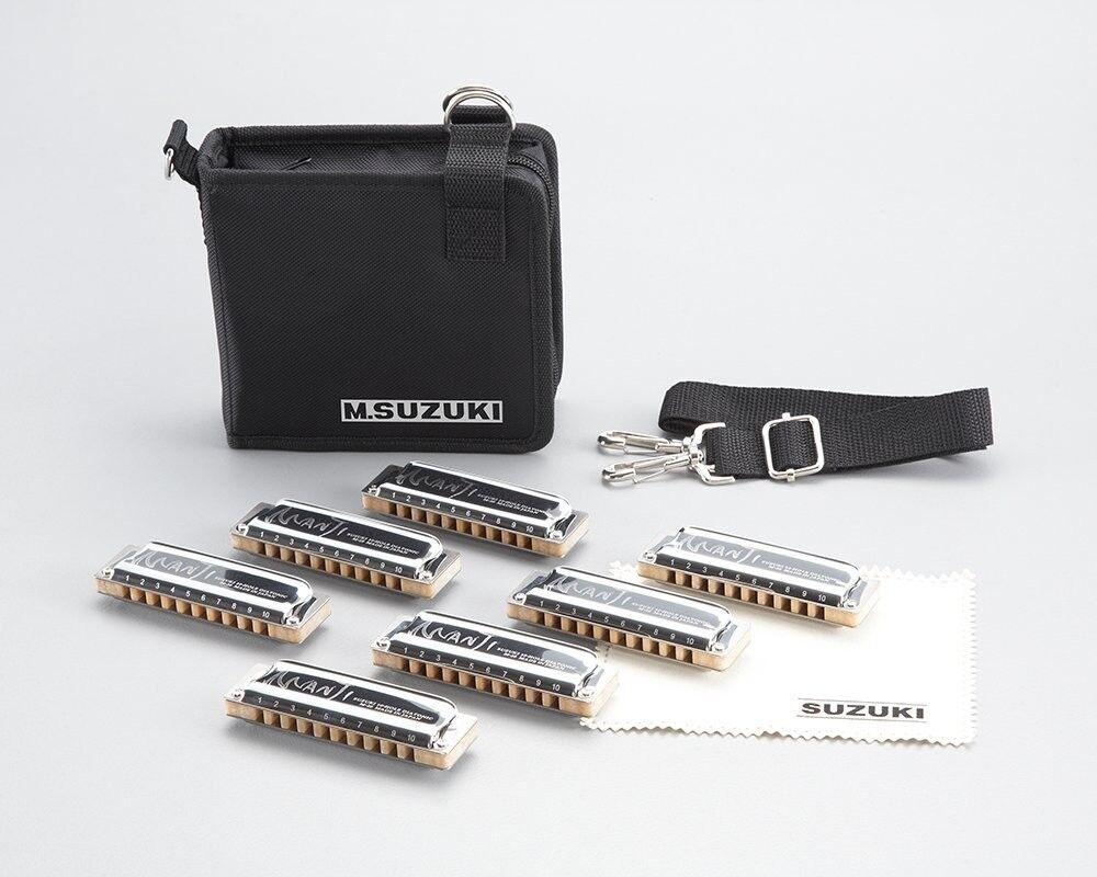 New  SUZUKI Harmonica  MANJI M-20 7SET= G. A. Bb. C. D. E. F = 10 HOLES From JP