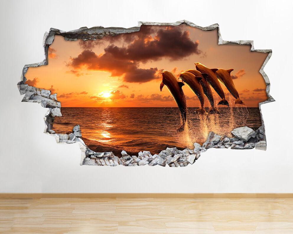 Z019 delfín del mar del océano Sunset  pegatina pared vinilo 3d habitación niños