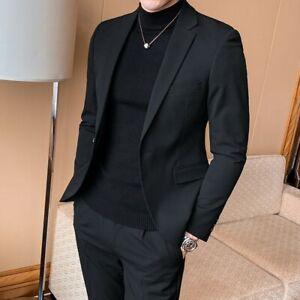 Mens long blazer jacket one button lapel collar slim fit formal dress coat suits