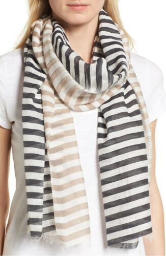 EILEEN FISHER Stripe Organic Cotton Silk Sheer Scarf Shawl Gray Tan 75x25 NWT