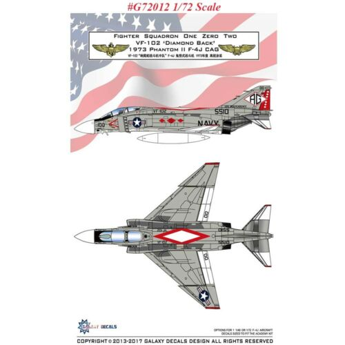 GALAXY Model G48012 G72012 1//48 1//72 Scale F-4J VF-102 Diamond Back 1973 Decal