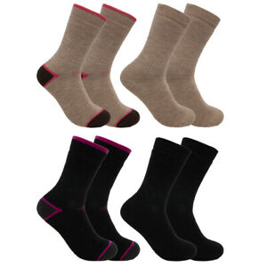 2 Pairs Women's Merino Wool Blend Socks Heavyweight Hiking Crew Outdoor Winter