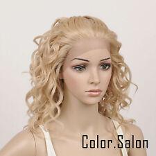 Hand Weben Kunsthaar Spitzenfrontseite Lace Front Wig Glueless Perücke 95#613M27