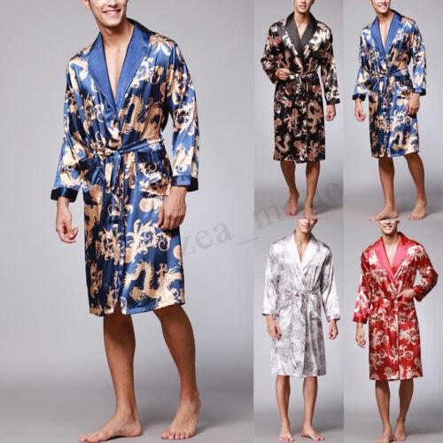 Mens Satin Silk Pajamas Kimono Bathrobe Robe Dressing Gown Sleepwear Loungewear