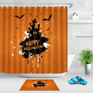 Details About 60 72 Happy Halloween Black Oil Paint On Orange Shower Curtain Set Bath Mat Rug