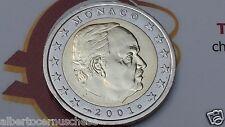 MONACO 2 euro 2001 fdc UNC RANIERI III prince prinz принц Монако モナコ 摩納哥