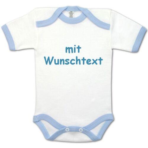 Baby-Body bedruckt Name//Wunschtext Blau 50//56