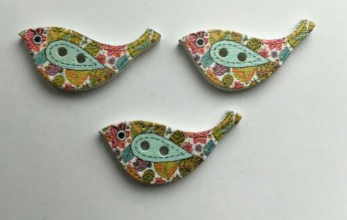 coser-Reino Unido Stock 6 X Botones Madera en Forma de Aves varios Diseños tejer