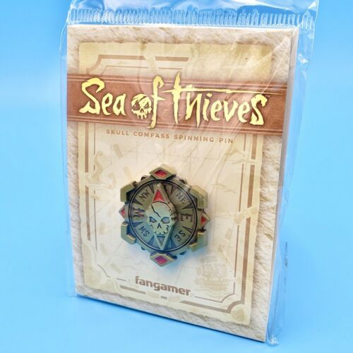 """Sea of Thieves Skull Compass Spinning Dial Pin Diecast 1.3/"""" Antiqued Finish"""