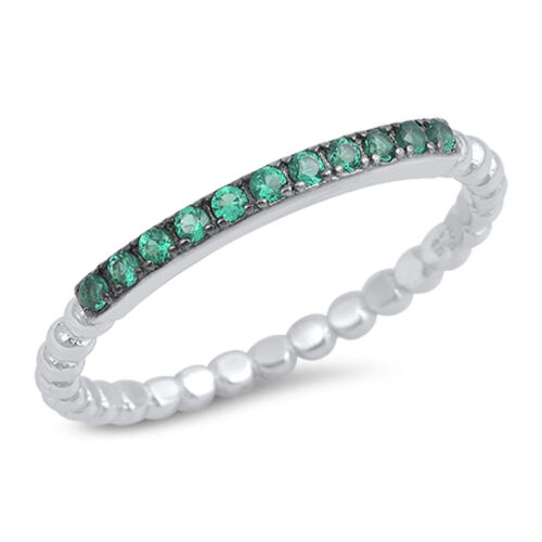 Thin Emerald CZ Classic Ring New .925 Sterling Silver Ball bead Band Sizes 4-10