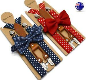 Adult-Men-Women-Party-Pants-Dots-Braces-Suspender-Clip-Belt-Bowtie-bow-tie-Set