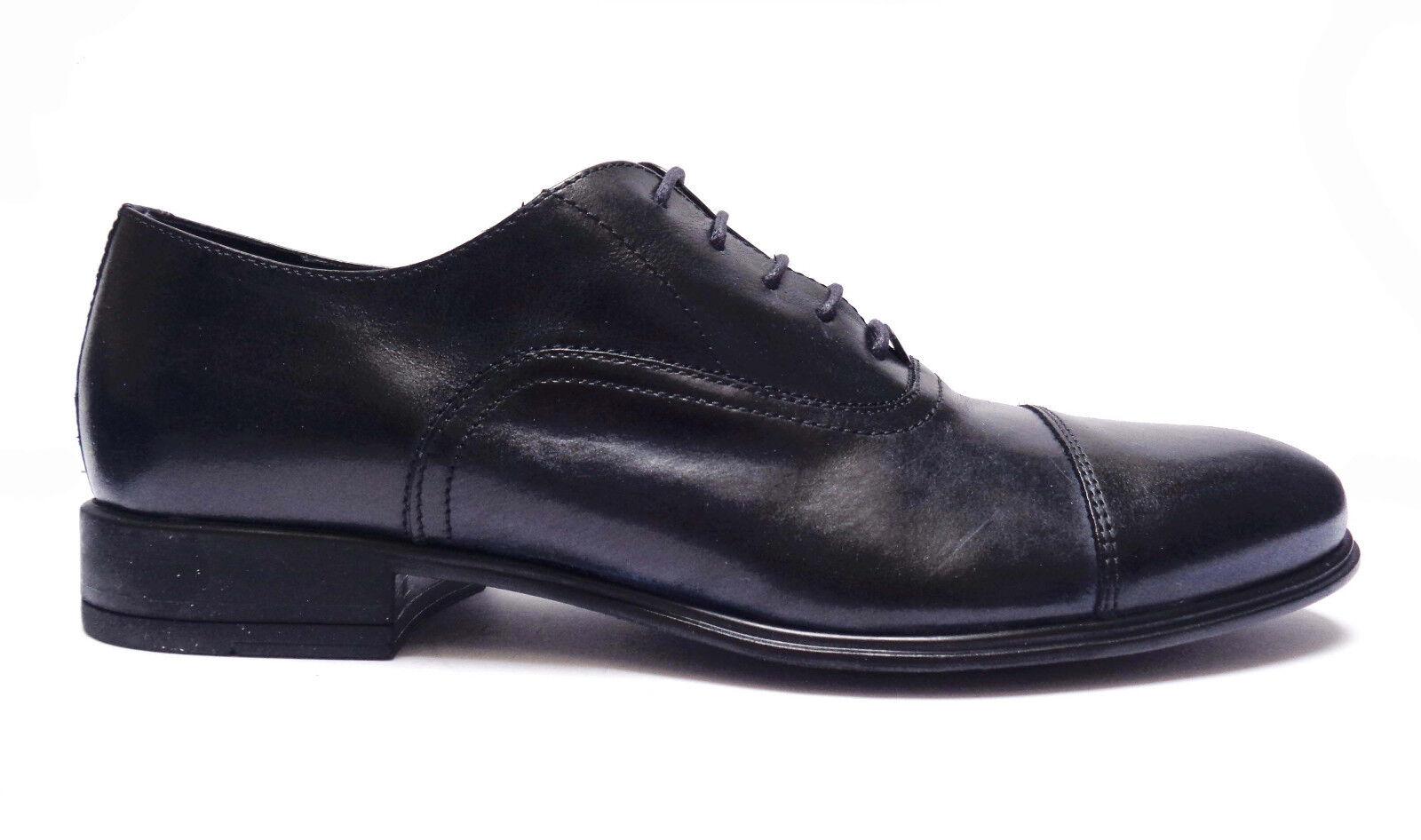 ANTICA CUOIERIA  zapatos CLASSICHE DA hombres IN PELLE azul FONDO IN GOMMA LEGGERA