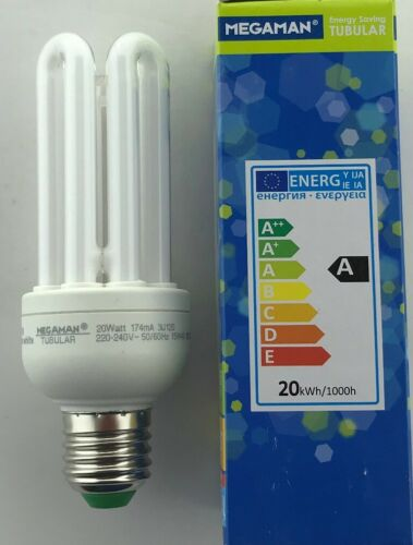 2 x 20 Watt ES Megaman Energy Saving 1151 lm Warm White bulb lamp CFL PLET