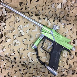 USED-Azodin-Blitz-3-Electronic-68-Cal-Paintball-Gun-Marker-Green-Silver