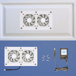 Enclosed-AV-Cabinet-Cooling-fans-with-multi-speed-control-white-model