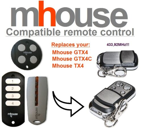 MHouse TX4 compatible remote control transmitter 433,92 MHz 4-channel