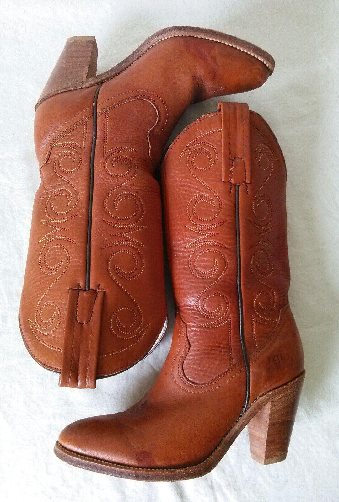 Frye para mujer Occidental marrón cuero tire de fijada talón Occidental mujer botas Talla 6.5 B hechos en EE. UU. 7ea2b1