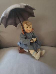Antique-Vintage-MJ-Hummel-Goebel-Germany-Porcelain-amp-Soft-Body-Umbrella-Girl