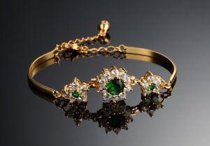 18k-18ct-Yellow-gold-GF-Lab-Diamond-Accent-Green-Emerald-Soild-bracelet-19cm