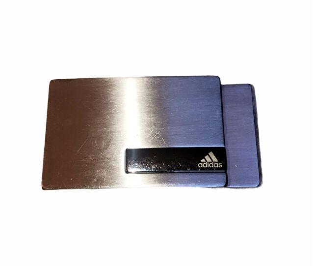"""Adidas Silver Logo Clamp Belt Buckle 3.25"""" L X 1.5"""" W"""