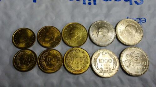 50 TO 2500 LIRA TURKEY 5 VINTAGE ATTATURK UNCIRCULATED COINS