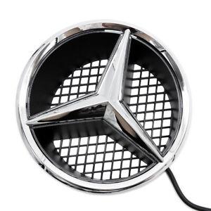 White-Motor-Car-Front-Grille-Star-Emblem-For-Mercedes-Benz-Illuminated-LED-Light