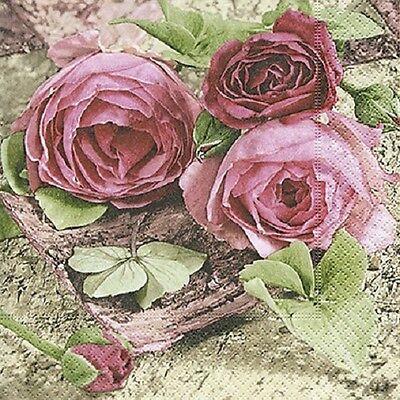 20 Servietten  Serviettentechnik Sentimental Roses P+D 33x33