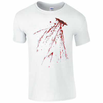 Fake Bloody Stab Wound T-Shirt - Halloween Knife Cut Stain Fancy Dress Mens Top