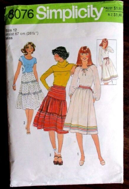 SIMPLICITY SEWING PATTERN NO. 8076 GIRLS RUFFLE SKIRT SIZE 12