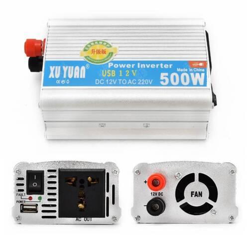 Portable Car Power Inverter WATT DC 12V to AC 220V Charger Converter W// USB Port
