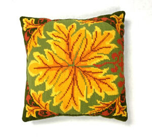 Vintage-1970s-Needlepoint-Decorative-Throw-Pillow-Floral-Leaf-Quilted-Green-Gold