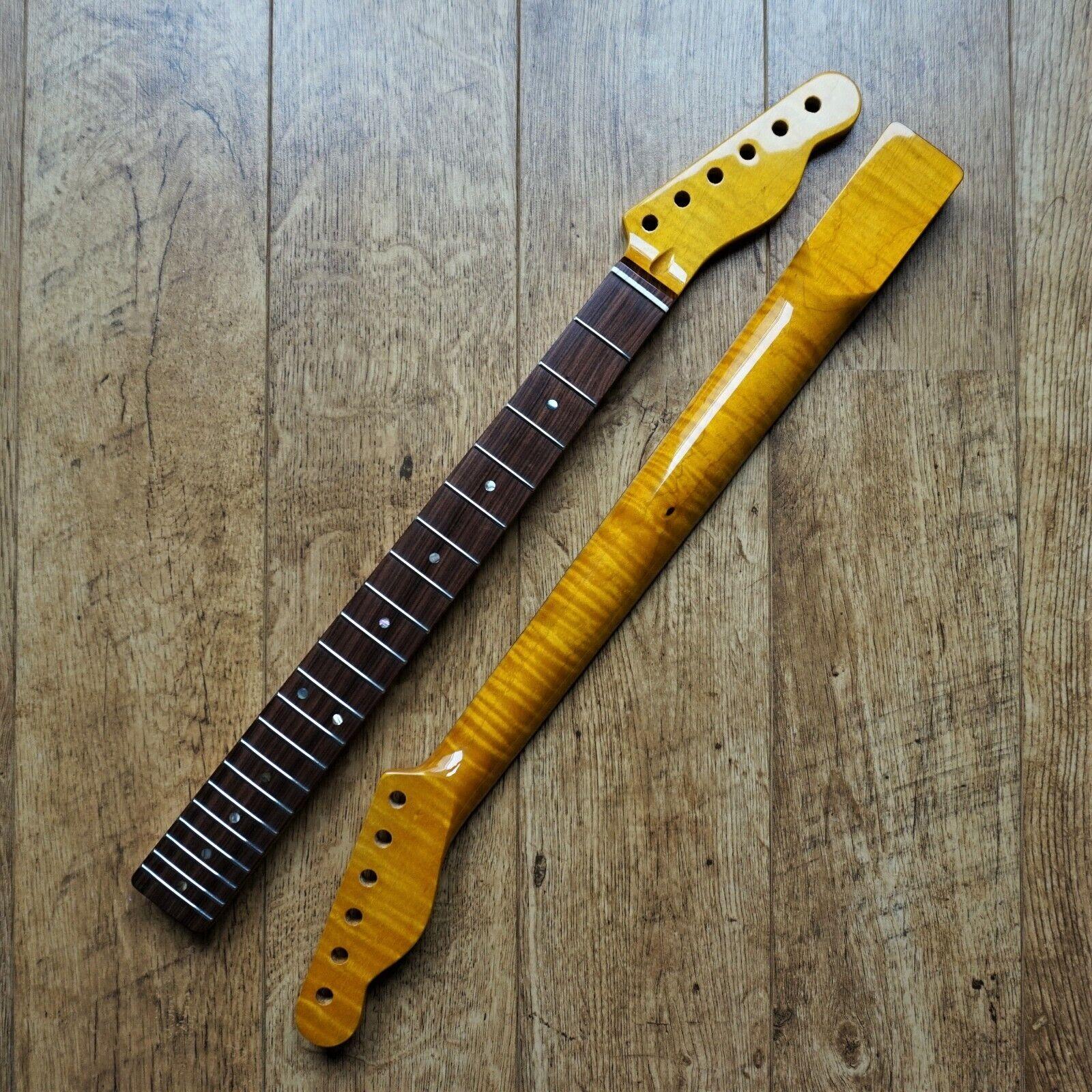 Strat Stratocaster kabukalli FLAME MAPLE Guitar Neck Gloss 22 Fret Jumbo Abalone