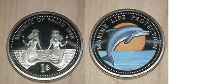 Coins: World South Pacific 1998 Palau Large Color $1 Dolphin/bare-breasted Mermaid Attractive Appearance
