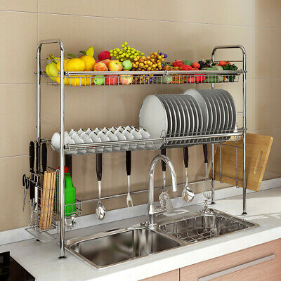 96 85cm Dish Drying Rack Over The Sink 2 Tier Drainer Kitchen Storage Holder Ebay