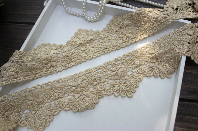 """2 Yards Lace Trim Alice Venice Gold Floral Embroidered Retro Palace 1.96"""" width"""