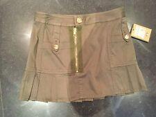 NWT Juicy Couture & Ragazze 8 anni Cotone Verde Gonna Con Bottoni D'oro