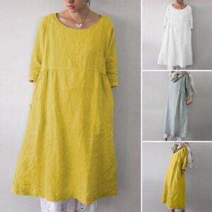 ZANZEA-Damen-Oversize-3-4-Arm-Freizeit-Lose-Longshirt-Tops-Shirt-Minikleid-Plus