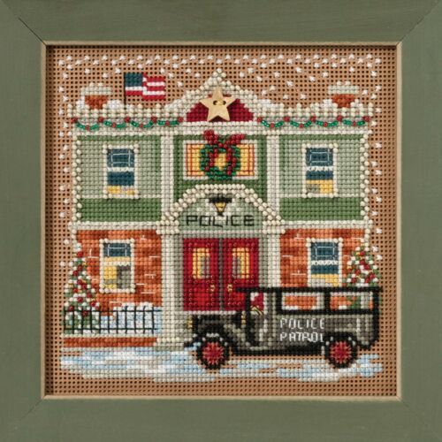 Police Station Cross Stitch Kit Mill Hill 2017 Buttons Beads Winter MH141732