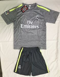 innovative design d6f41 607b4 Details about New Grey/Green Real Madrid Kit Jersey & Shorts Adult Size S