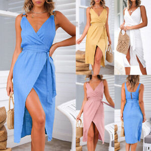 Women-Sleeveless-V-Neck-Elegant-Office-Midi-Dress-Evening-Solid-Casual-Sundress