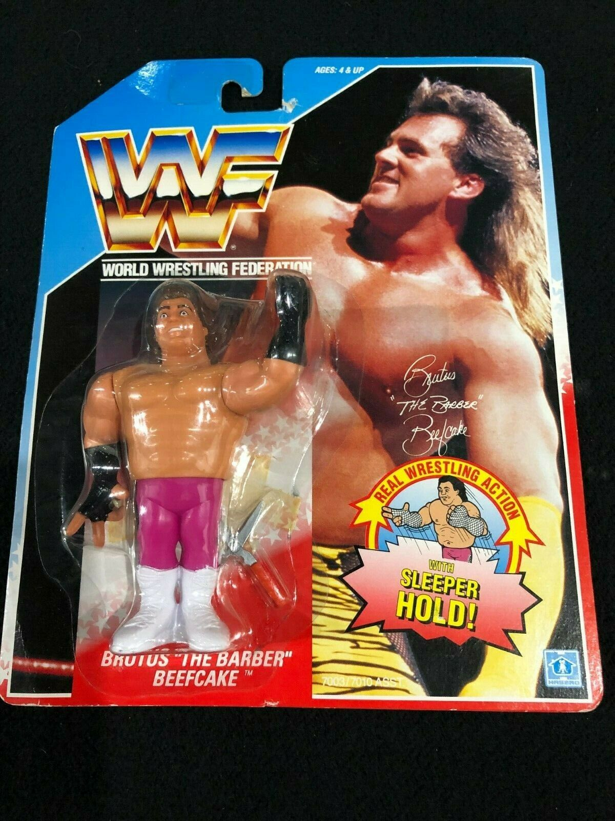 WWF WWE Hasbro 1991 Series 1 bluee Card Brutus Beefcake Barber Action Figure  2