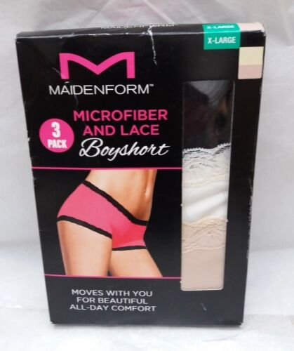 Crema Beige Paquete De 3 Maidenform Microfibra /& Lace SHORTIES-Negro