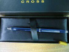 Cross Hamilton Ballpoint Pen Checkered Chrome Cap and Blue Lacquer Barrel
