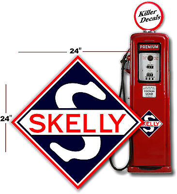 "SKEL-3 4/"" EARLY NAVY BLUE SKELLY SHIELD GAS PUMP GASOLINE OIL DECAL"