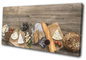 Cheese-Board-Grapes-Wood-Food-Kitchen-SINGLE-CANVAS-WALL-ART-Picture-Print