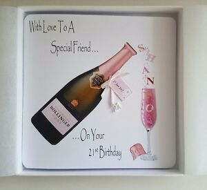 Image Is Loading Personalised 21st Birthday Card Daughter Pink Champagne 16th