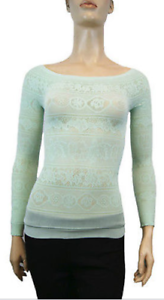 New Free People Intimately Seamless Off Shoulder Sheer Skinny Top Mint Xs//S $68